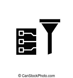Cleaning filter black icon, concept illustration, vector flat symbol, glyph sign.