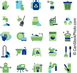 Cleaning Flat Color Icons Set