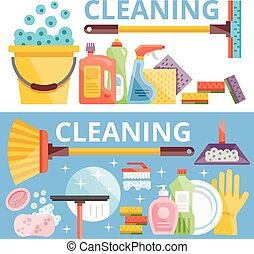 Cleaning flat illustration concepts set. Flat design...