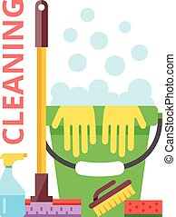 Cleaning flat illustration
