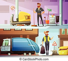 Cleaning Garbage Collecting Cartoon Banners Set