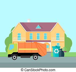 Cleaning Garbage From the City Streets Vector. - Cleaning...