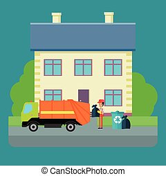 Cleaning Garbage From the City Streets Vector.