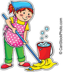 cleaning girl - happy girl washing the floor
