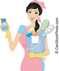 Cleaning Girl - Illustration of a Girl Carrying Cleaning...