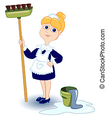 Cleaning girl. Isolated on white. Vector illustration.