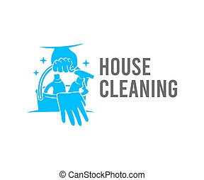 Cleaning, hand holds a bucket of cleaners and detergents, logo design. Sanitizing, disinfecting, hygiene and cleanliness, vector design and illustration