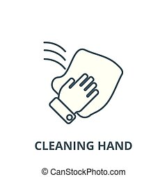Cleaning hand, wash cloth line icon, vector. Cleaning hand, wash cloth outline sign, concept symbol, flat illustration