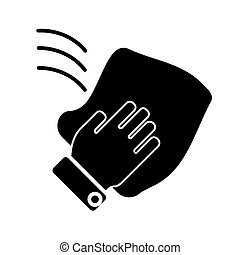 cleaning hand washcloth icon, vector illustration, black...