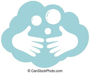 Cleaning hands icon on white background