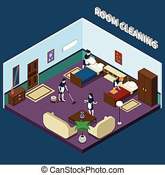 Cleaning Hotel Room Isometric Design