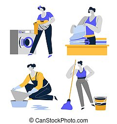 Cleaning house, housekeeping and housework, housewife or maid isolated icons