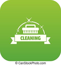 Cleaning house icon green vector