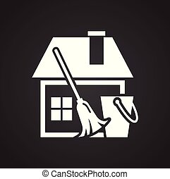 Cleaning house icon on black background for graphic and web design, Modern simple vector sign. Internet concept. Trendy symbol for website design web button or mobile app.