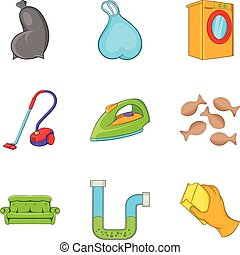 Cleaning house service icon set, cartoon style