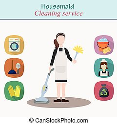 Cleaning house service - young women character