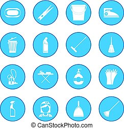 Cleaning icon blue