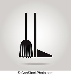 Cleaning icon, Broom and Dustpan