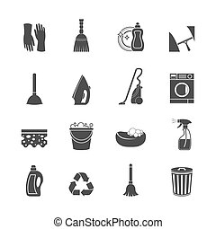 Cleaning washing housework icons set of mop vacuum cleaner bucket sponge isolated vector illustration