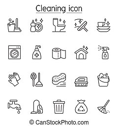 Cleaning icon set in thin line style