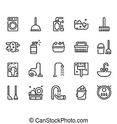 Cleaning icon set. Vector illustration