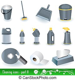 Cleaning Icons 2 - Vector illustration set of different...