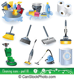 Cleaning Icons 3 - Vector illustration set of different...