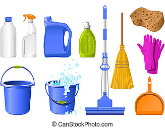 Domestic Tools for cleaning on the white