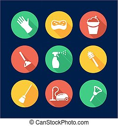 Cleaning Icons Flat Design Circle