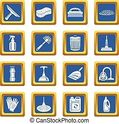 Cleaning icons set blue square vector
