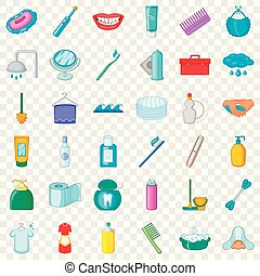 Cleaning icons set, cartoon style