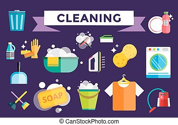 Cleaning icons set clean service - Cleaning icons set. Icons...