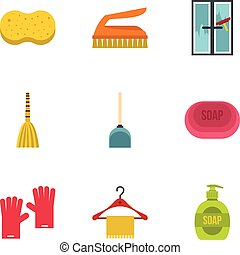 Cleaning icons set, flat style