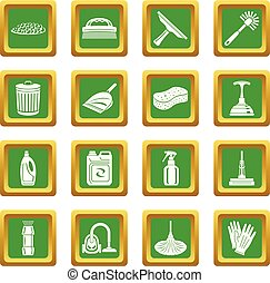 Cleaning icons set green square vector