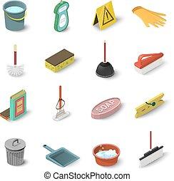 Cleaning icons set, isometric style