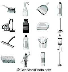 Cleaning icons set monochrome