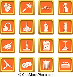 Cleaning icons set orange square vector