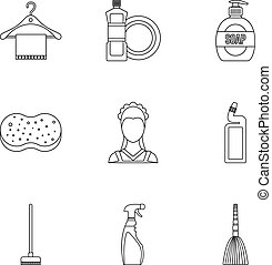 Cleaning icons set, outline style