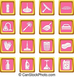 Cleaning icons set pink square vector
