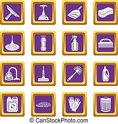 Cleaning icons set purple square vector