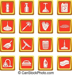 Cleaning icons set red square vector