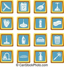 Cleaning icons set sapphirine square vector