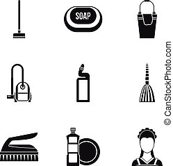 Cleaning icons set, simple style