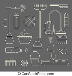 Cleaning icons - Vector set of stylized cleaning tools icons
