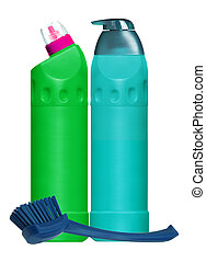 Cleaning items and brush for toilet isolated on white