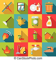 Cleaning items icons set, flat style