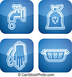 """Kitchen related Objects from left to right: Valve, Rubbish bag, Rubber gloves, Laundry basket. All icons are part of the """"2D Cobalt Icons Set"""" saved as an EPS version 10."""