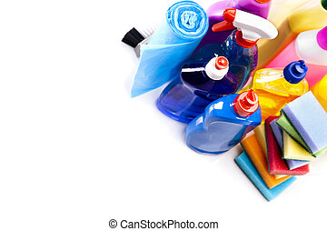 Cleaning items set - Cleaning items isolated on white...