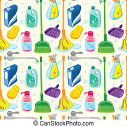 cleaning kit seamless pattern