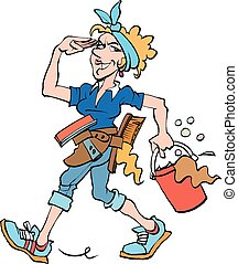 Cleaning lady at work - Vector cartoon illustration of a...